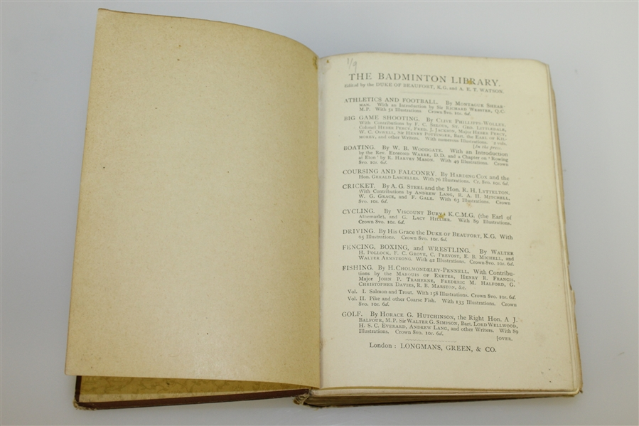 1893 'The Badminton Library' Book by Horace G. Hutchinson - Roth Collection