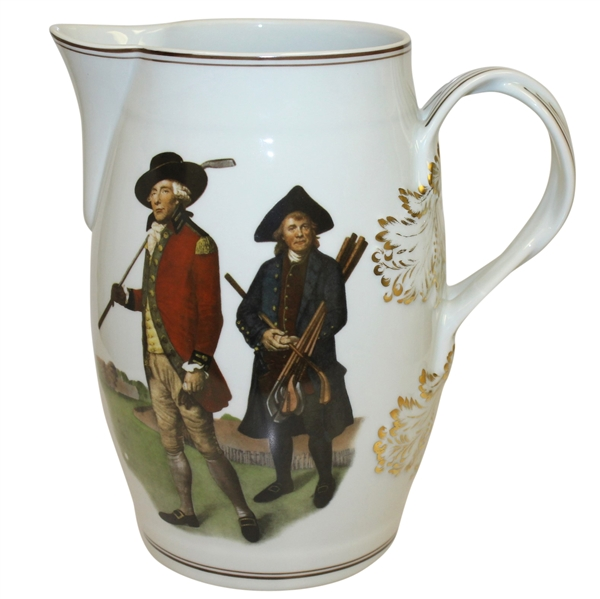 Mottahedeh Portugal Large Pitcher with V. Green Artwork 'Society of Goffers at Bleackheath'