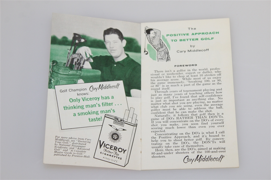 1959 'The Positive Approach to Better Golf' by Cary Middlecoff Booklet - Roth Collection