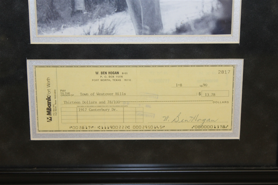Ben (William B.) Hogan Signed Check to Town of West Hills with Photo - Framed JSA ALOA
