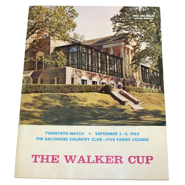 Deane Beman's 1965 The Walker Cup at Baltimore CC Official Program