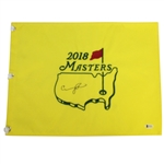 Condoleeza Rice Signed 2018 Masters Embroidered Flag BECKETT #E66201