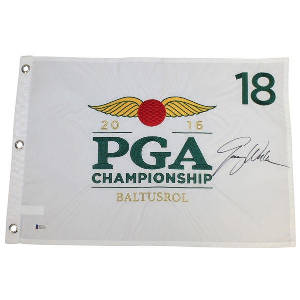 Jimmy Walker Signed 2016 PGA Championship at Baltusrol Embroidered Flag BECKETT #D61629