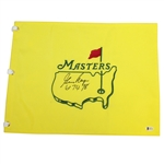 Gary Player Signed Undated Masters Embroidered Flag with 61 74 78 Notation BECKETT #E66214