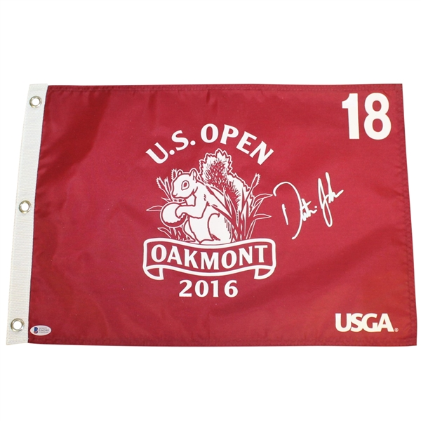 Dustin Johnson Signed 2016 US Open Red Screen Flag BECKETT #E66340