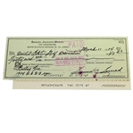 Sam Snead Signed 1974 Personal Check to the USGA for US Open Entry Fee JSA ALOA