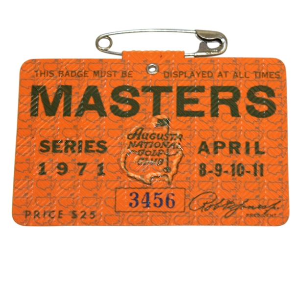 1971 Masters Tournament Series Badge #3456 - Charles Coody Winner