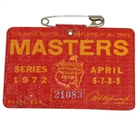 1972 Masters Tournament Series Badge #21083 - Jack Nicklaus Winner
