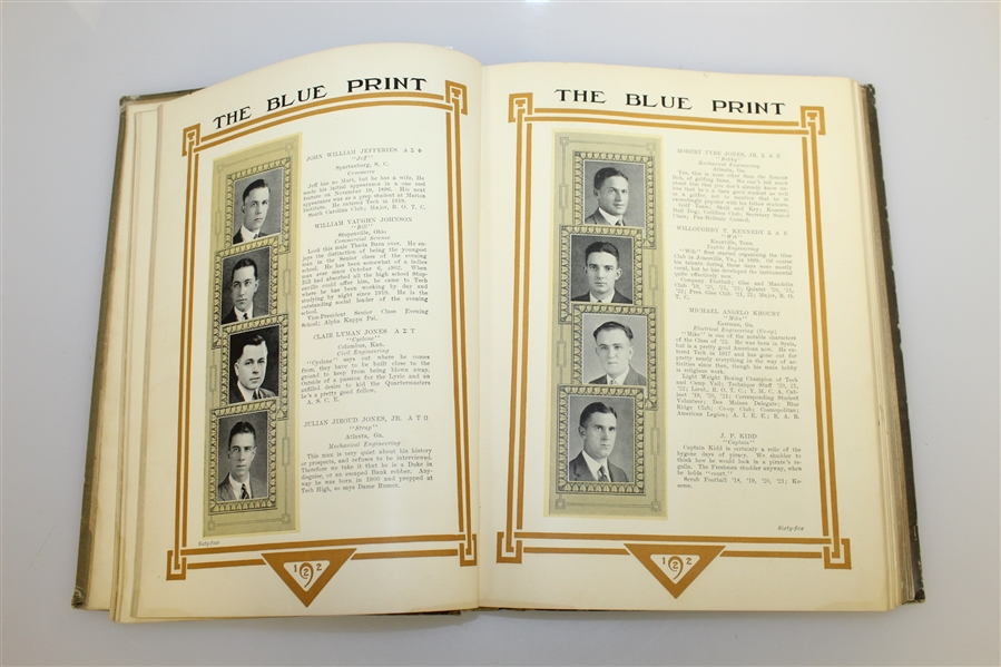 1922 Georgia Tech 'The Blue Print' Yearbook with Bobby Jones