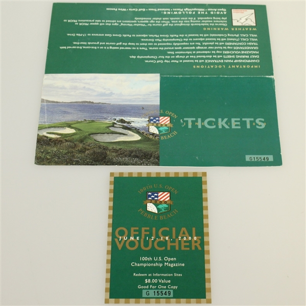 Tiger Slam Ticket/Badge Set - 2000 US Open, British Open, PGA & 2001 Masters