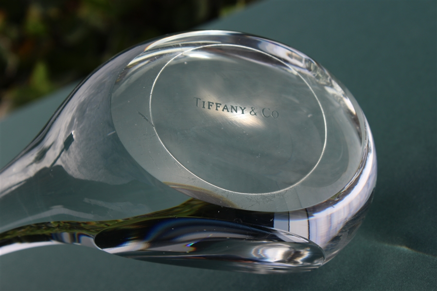 Tiffany & Co Luxury Large Leaded Crystal Art Glass Golf Club Paperweight