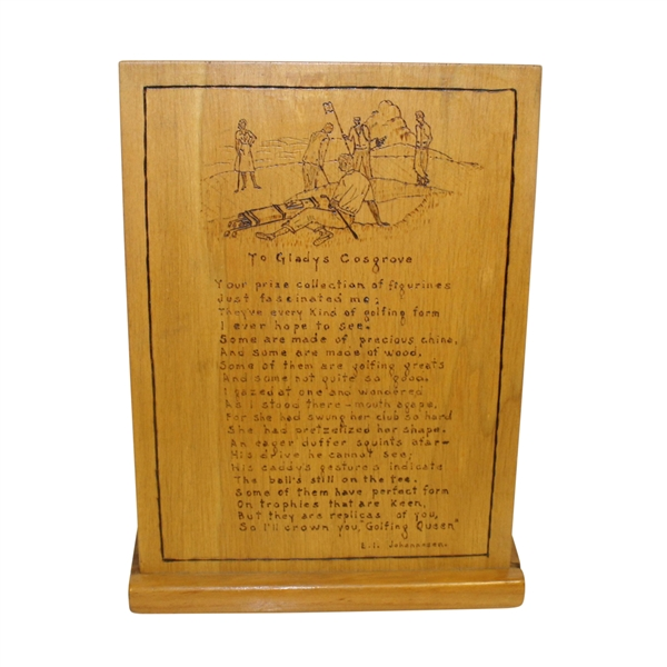 'To Gladys Cosgrove' Poem Carved on Wood by Johannesen