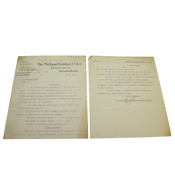 1914 Letter from The Midland Rubber Co Regarding Golf Balls