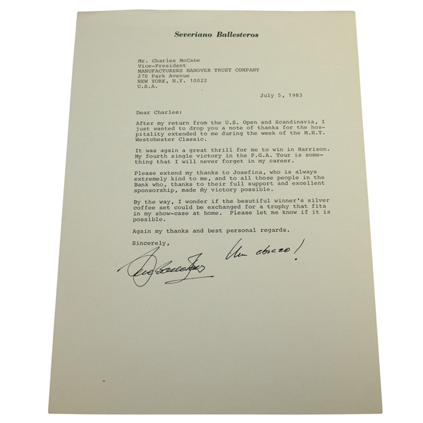 Seve (Severiano) Ballesteros Signed Typed Letter on Seve Letterhead - 1983 JSA ALOA