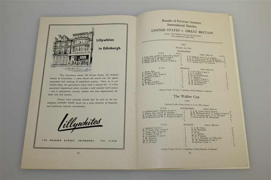 Don Cherry's Personal 1955 The Walker Cup Program - The Old Course, St. Andrews