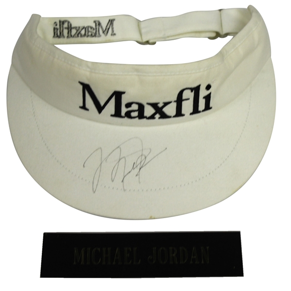 Michael Jordan Signed White Maxfli Visor with Nameplate - Butler National JSA ALOA