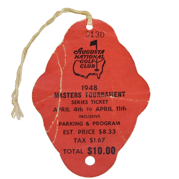 1948 Masters Tournament SERIES Badge #3130 - Claude Harmon Winner