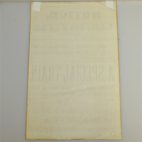 1899 Yorkshire Union of Golf Clubs North Eastern Railway Co. Train Schedule Announcement Sheet