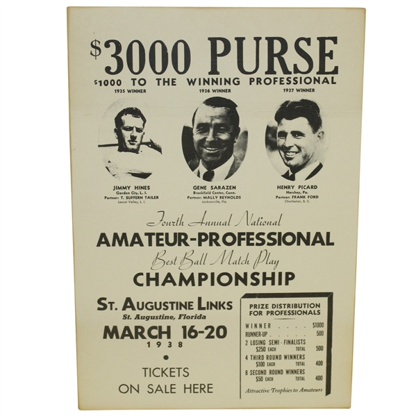Classic 1938 Best Ball Match Play Tournament at St. Augustine Links Announcement Print