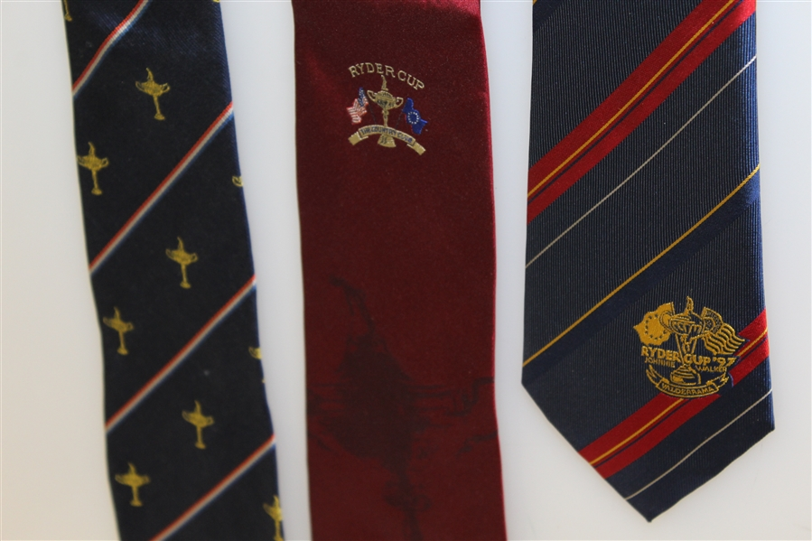 Ryder Cup Ties - Blue with Multi Stripe Trophy, The Country Club Red, & 1997 Red/Blue Logo