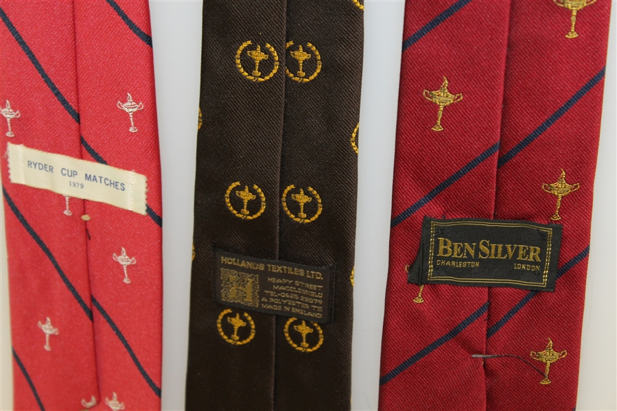 Ryder Cup Ties - Red with Blue Stripe Trophy, Brown with Trophy, & Red with Blue Stripe Trophy