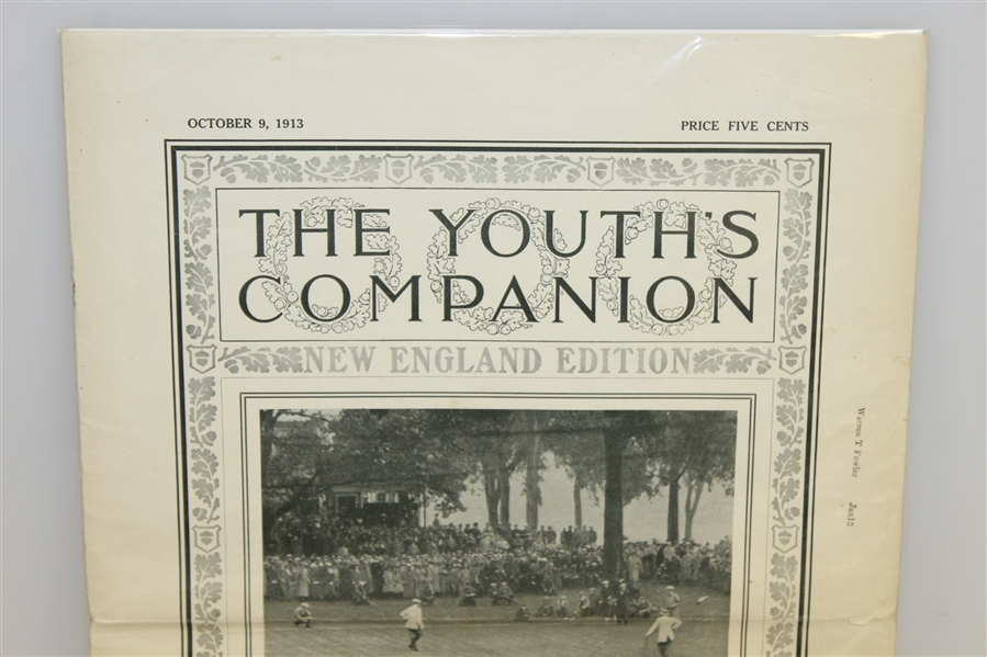 The Youth's Companion Oct. 9, 1913 Issue w/Ouimet, Vardon, & Ray on Cover - New England Edition
