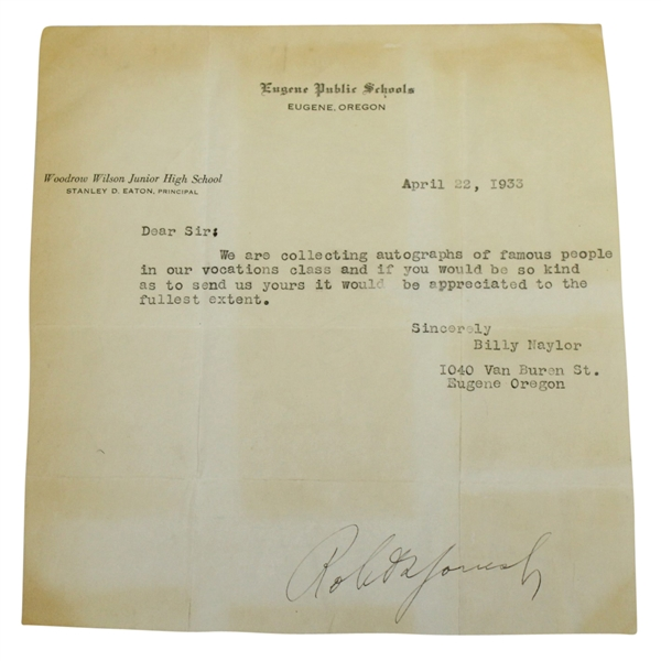 Bobby Jones 'Robert T. Jones, Jr.' Signed 1933 Letter - Framed FULL JSA #Z90633