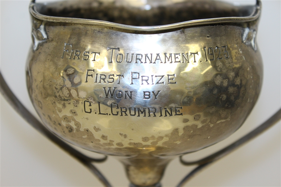 1923 Sterling Silver Hacienda CC President's Trophy First Tournament Won by C.L. Crumrine