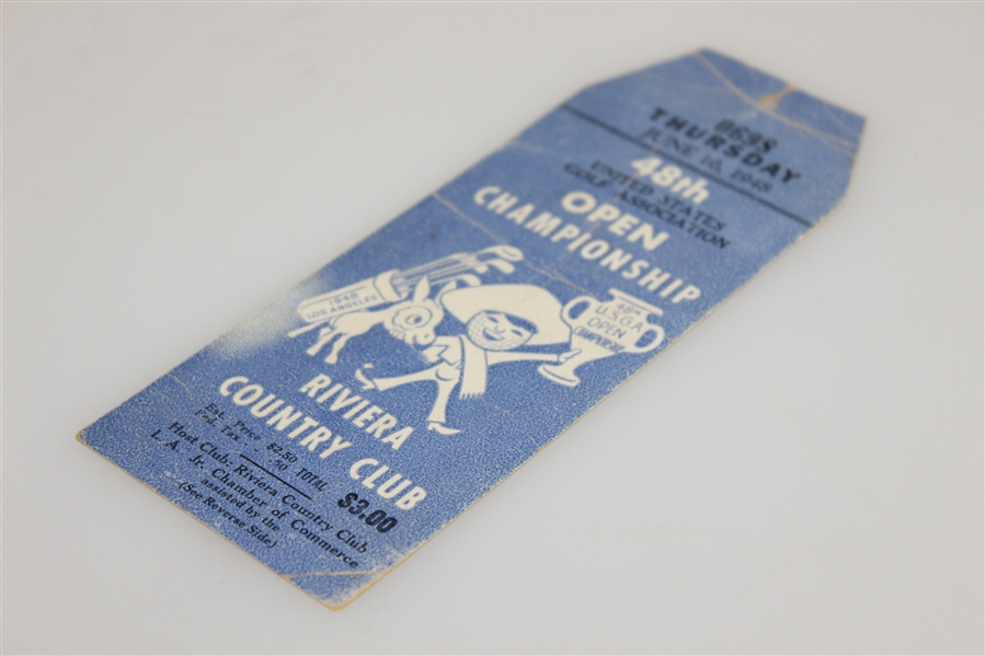 1948 US Open at Riviera Country Club Thursday Ticket #0698 - Hogan's First of Record Four Open Wins !
