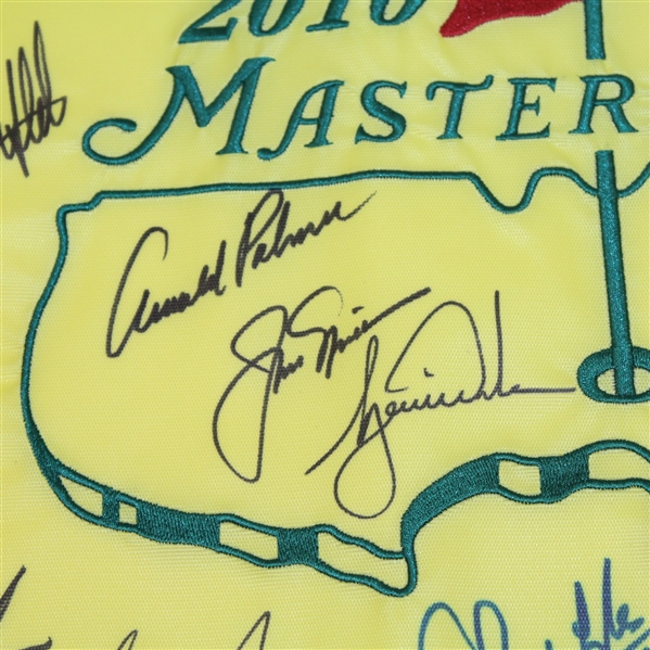 Ray Floyd's 2010 Masters Champs Dinner Flag with Palmer, Nicklaus, & Woods Center! 23 Champs! JSA ALOA