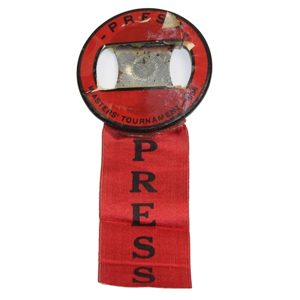 1938 Masters Tournament Press Badge with Ribbon - Picard Winner