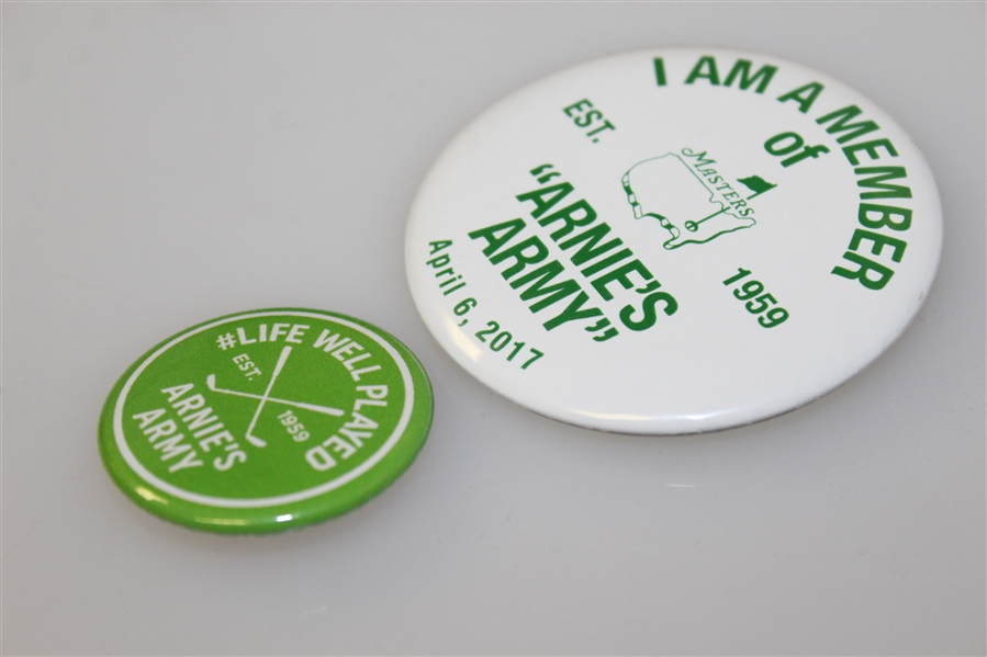 2017 Masters 'Arnie's Army' Pin & Life Well Played 'Arnie's Army' Est. 1959 Pin