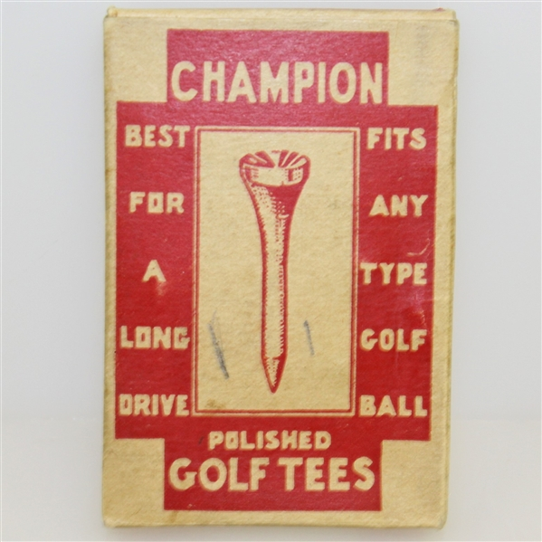 Vintage Champion Polished Golf Tees Box with Original Tees