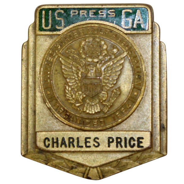 Charles Price's Early Career USGA Press Credential Badge