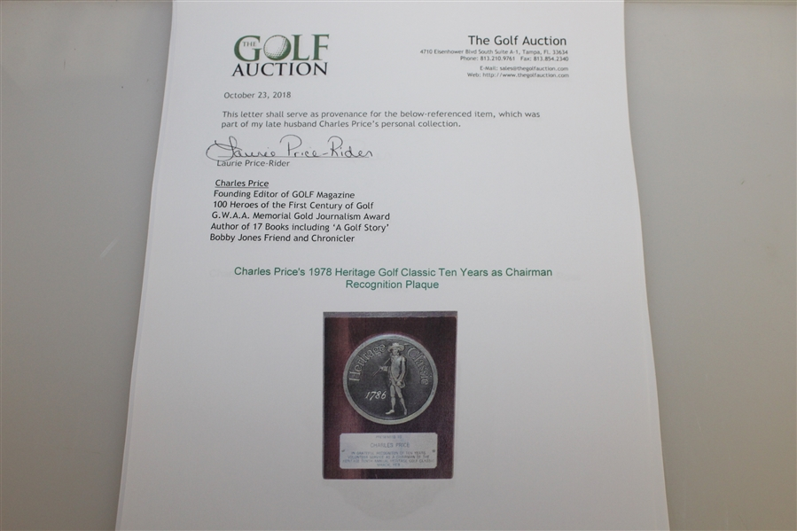 Charles Price's 1978 Heritage Golf Classic Ten Years as Chairman Recognition Plaque