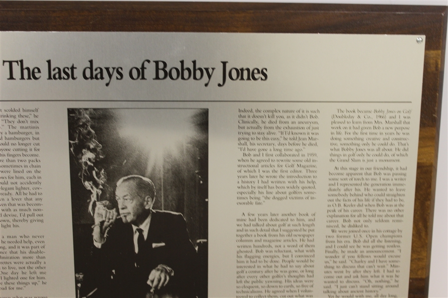 Charles Price's 1992 'The Last Days of Bobby Jones' GWAA First Place Plaque - Writing Competition