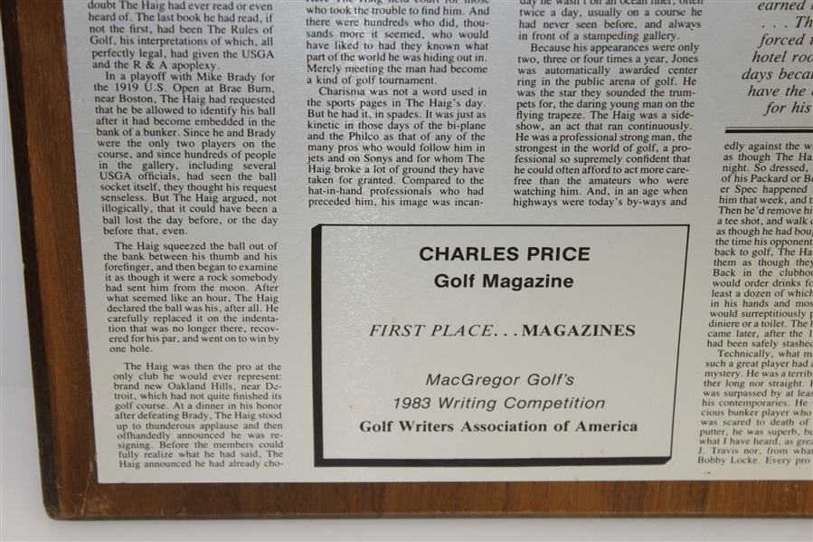 Charles Price's 1983 'The Haig and I: Part 2' GWAA First Place Plaque - Writing Competition
