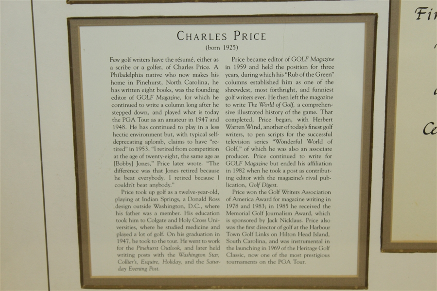 Charles Price's 1988 One of '100 Heroes of the First Century of Golf' Award - Framed