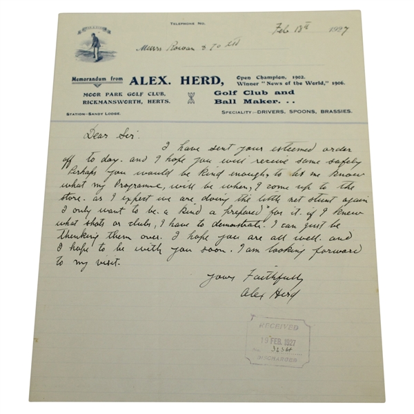 Alex (Sandy) Herd (D-1944) Signed 1927 Letter - 1902 British Open Champ JSA ALOA