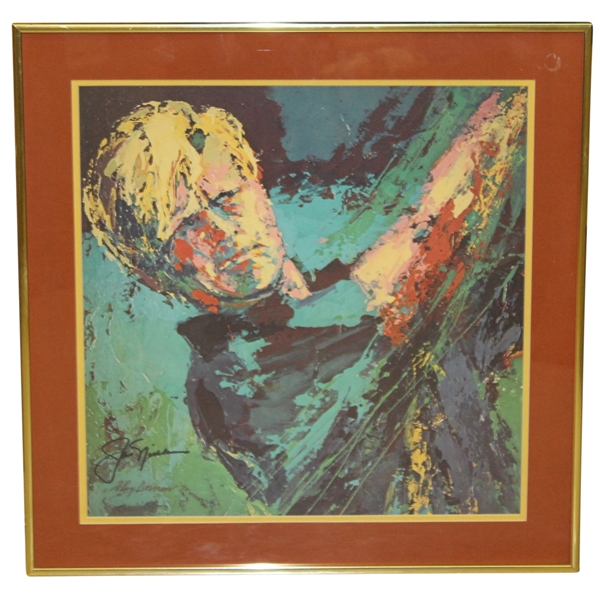 Jack Nicklaus & Leroy Neiman Signed Framed 1972 Print with USGA Gift Thanks Letter JSA ALOA