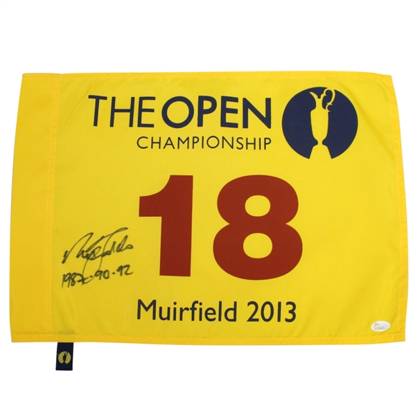 Nick Faldo Signed 2013 Open Championship Flag with Years Won Notation JSA #K54431