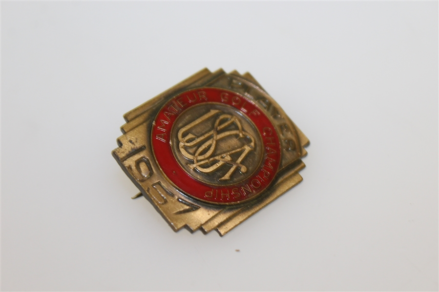 1957 US Amateur Championship at The Country Club Contestant Badge - Hillman Robbins Winner