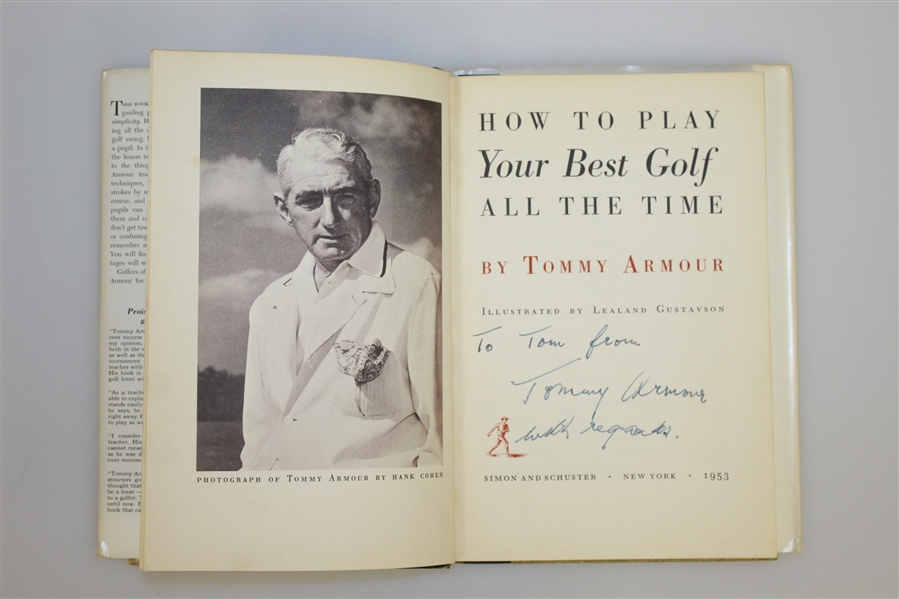Tommy Armour Signed 'How To Play Your Best Golf All The Time' Book w/ Dust Jacket JSA ALOA