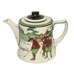 1920s Royal Doulton Golf Themed Teapot with Lid - R. Wayne Perkins Collection