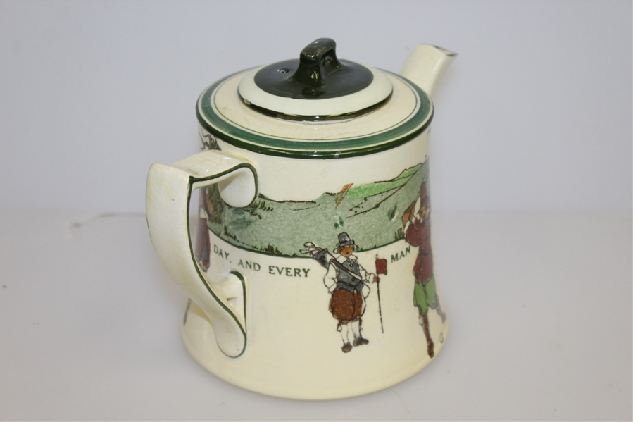 1920's Royal Doulton Golf Themed Teapot with Lid - R. Wayne Perkins Collection
