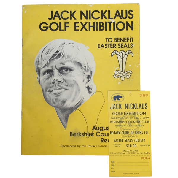Jack Nicklaus Golf Exhibition At Berkshire Country Club, 1976 - Program/Ticket