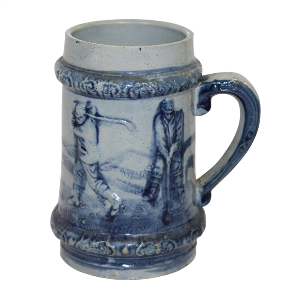 Antique Golf Themed Blue Stein By Robinson