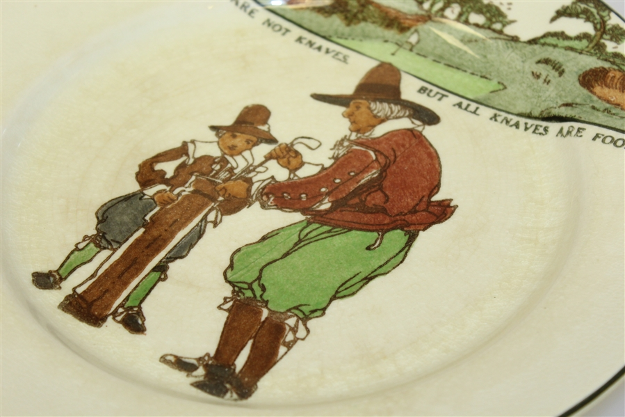 1920's Royal Doulton Golf Plate 'All Fools Are Not Knaves, But All Knaves Are Fools'