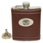 East Lake Golf Club Logo Brown Leather Stainless Steel Flask with Funnel - 6oz