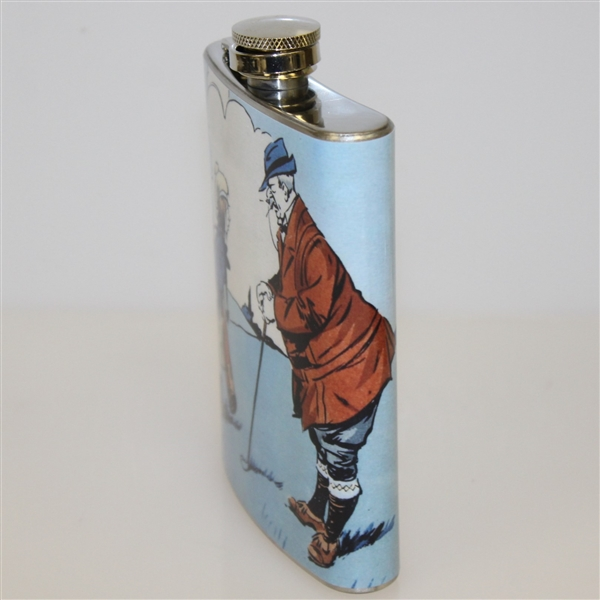 Classic Golfer with Child/Caddy Themed Stainless Steel Hip Flask - 8oz
